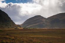 Bright Weather Over Strath More In Sutherland, Scotland.
