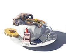 Elephant And Cup Of Tea As The Bathtub