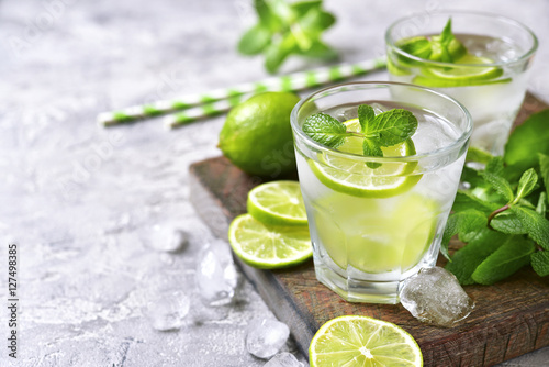 Cold refreshing summer lemonade mojito.