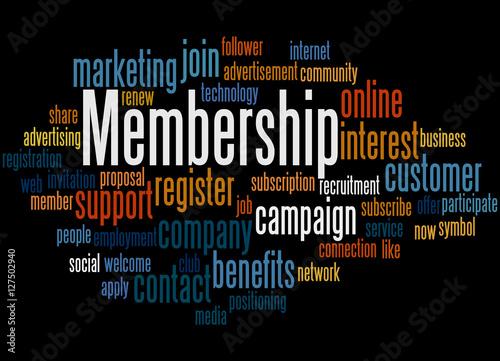 Fotografía  Membership, word cloud concept 3