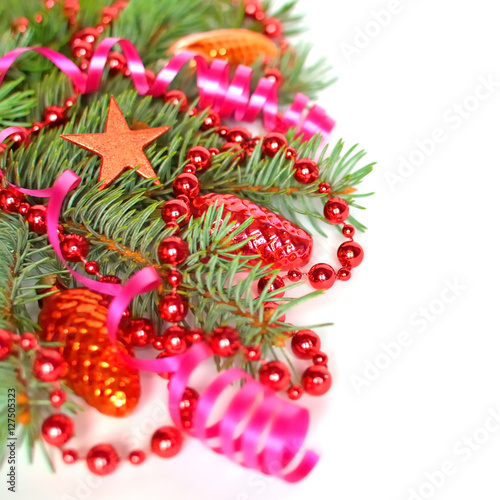 Christmas Tree Branch With Christmas Ornaments Background Buy This