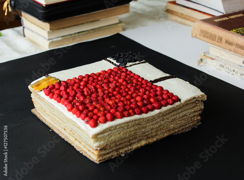 Photo  square cake on a black background. Mondrian cake