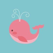 Cute Pink Whale Over Blue Background. Colorful Design. Vector Illustration