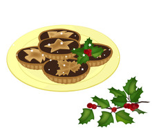 Mince Pies On A Plate And A Ho...