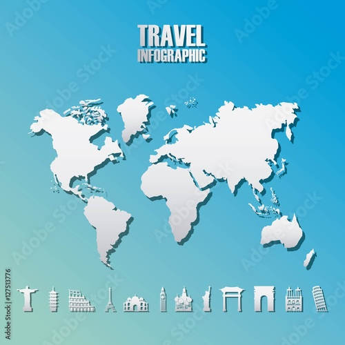 Infographic presentation of travel and world map icon over blue infographic presentation of travel and world map icon over blue background vector illustration gumiabroncs Gallery