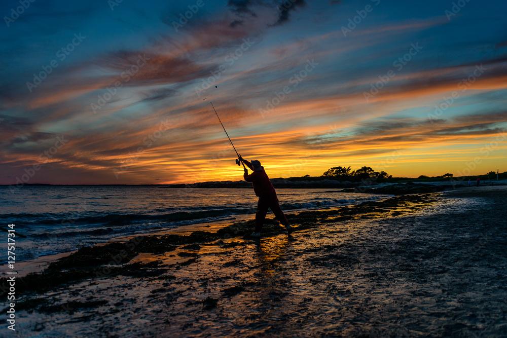Fototapety, obrazy: Surf Casting At Sunset