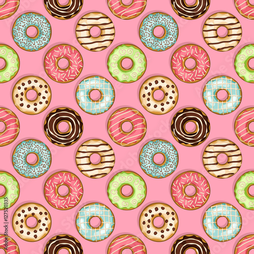 Cotton fabric donuts seamless pattern on pink background