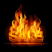 Hot Sales Billboard Banner With Glowing Text In Flames. Poster. Abstract Vector Illustration
