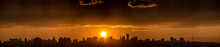 Panoramic View Of The Big City Silhouette Against The Backdrop Of Incredibly, Awesome Bright, Colored Sunset. Kyiv. Ukraine.