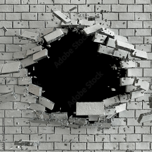 Fotografia 3d render, 3d illustration, explosion, cracked brick wall, bulle