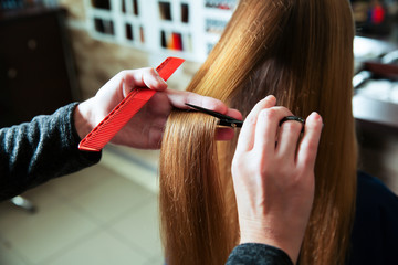 Cutting of hair with scissors and comb.