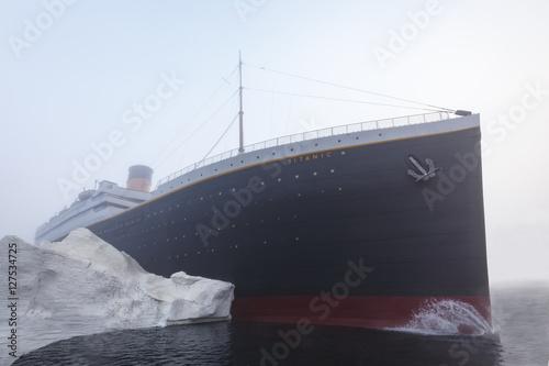Titanic ship with iceberg Canvas Print