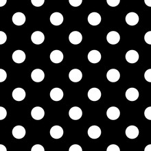 Seamless Polka Dot Black And W...