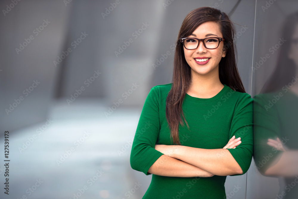 Fototapeta Headshot of cute asian woman professional possibly accountant architect businesswoman lawyer attorney