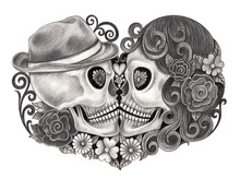 Skull Art Day Of The Dead.Art Design Skull Head Wedding Action Smiley Face Day Of The Dead Festival Hand Pencil Drawing On Paper.