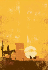 Fototapeta Cowboys background, cowboy roping horse in dessert
