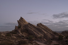 Vasquez Rocks Natural Area Park At Twilight. This Geological Feature Has Been Used In Many Movies And Commercials.