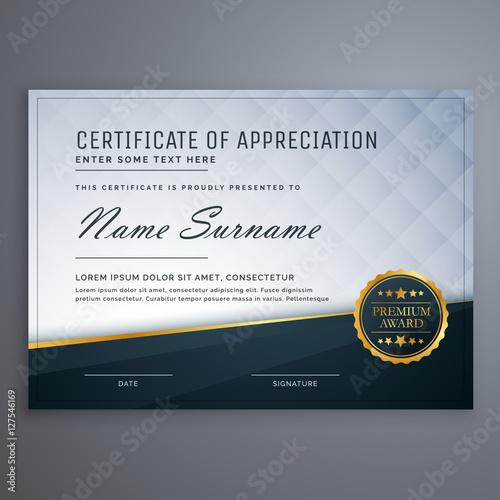 Fotografia  premium modern certificate of appreciation template design