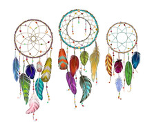 Colorful Detailed Dream Catcher Set, Painted Watercolor Design. Hand Drawn Editable Elements, Realistic Style, Vector Illustration. Ethnic Colored Feathers, Isolated On Background,sketched Collection.