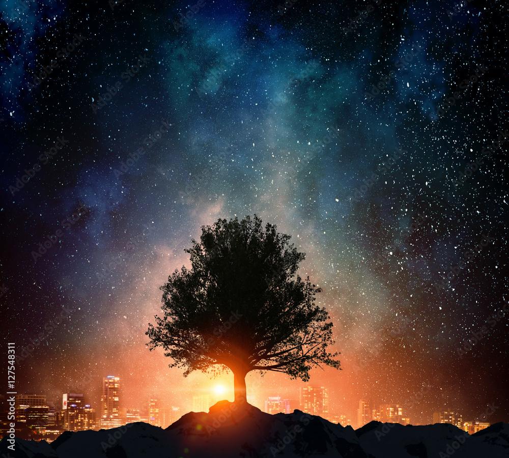 Starry night and tree . Mixed media