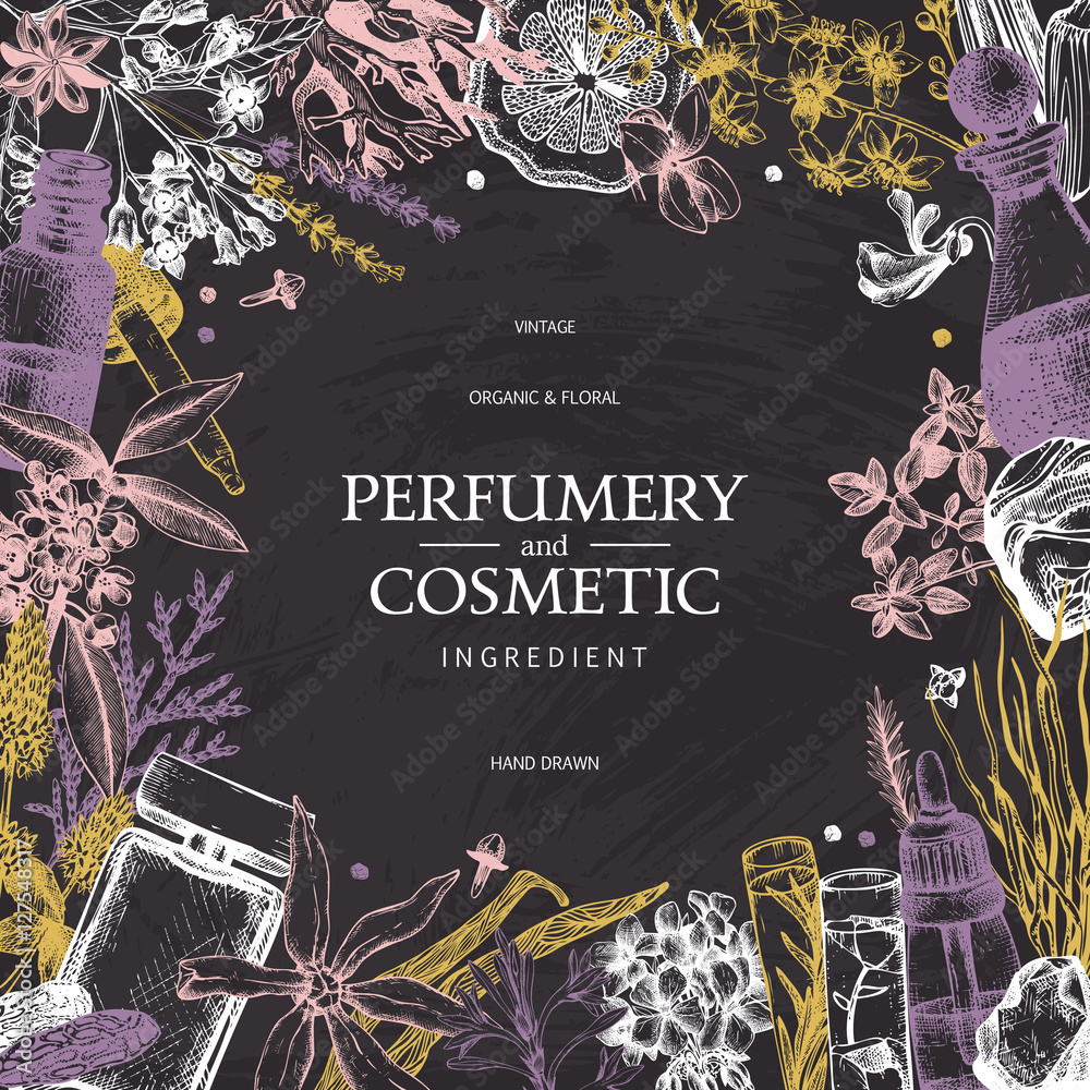 Fototapety, obrazy: Vintage template. Ink hand drawn design with aromatic plants and fruits on chalkboard.. Vector illustration with highly detailed perfumery and cosmetics ingredients sketch.
