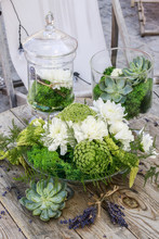 Green Wedding Floral Arrangement With Chrysanthemums And Anthris