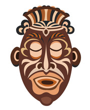 African Papuan Mask Isolated O...