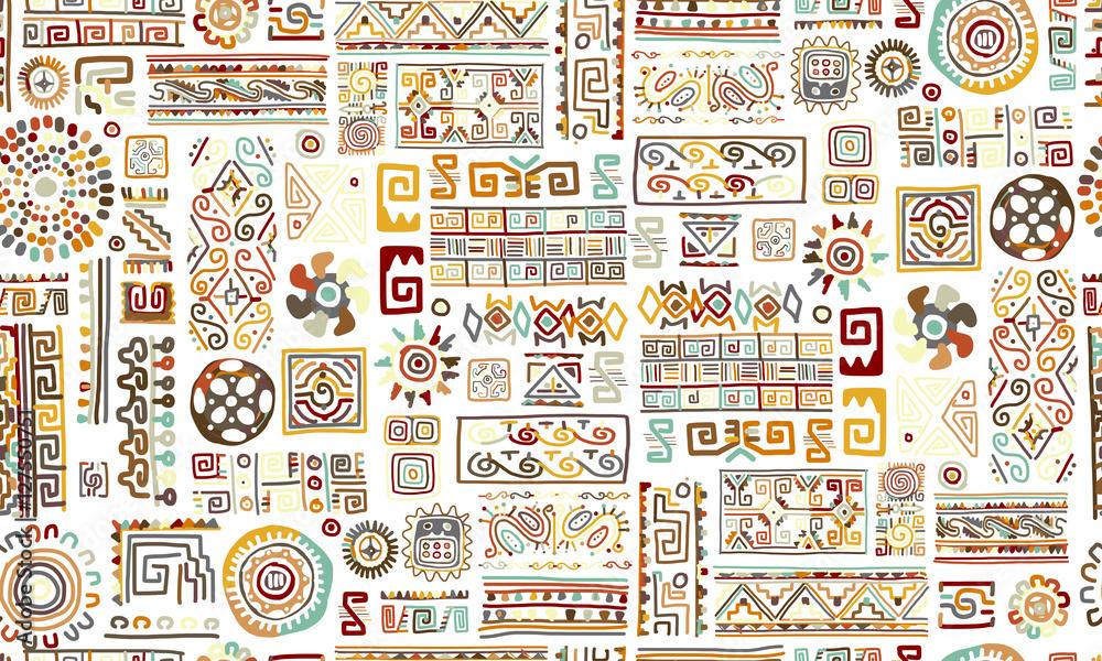 Fototapeta Ethnic handmade ornament, seamless pattern for your design