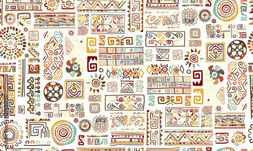 Fotomurales - Ethnic handmade ornament, seamless pattern for your design