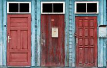 Three Red  Retro Doors