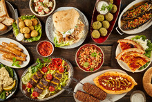 Top Down View Of Mediterranean Dishes