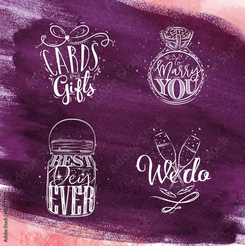 Wedding symbols violet Poster