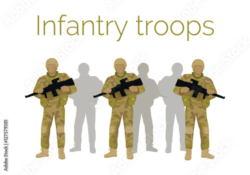 Fotografía  Infantry Troops Soldiers with Weapon. Vector