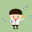 businessman have book and ideas with cheques on a large sum. Pro