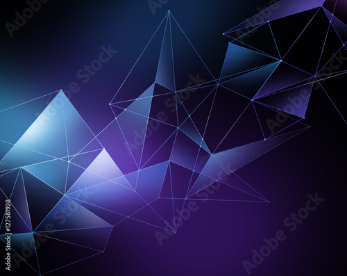 abstract geometrical faceted background, blue glowing triangles, Wall mural
