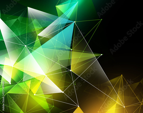 Valokuva  abstract geometrical faceted background, yellow green glowing tr