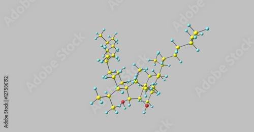 Fotografie, Obraz  Bilobol molecular structure isolated on grey