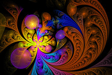 Abstract Floral Ornament On Black Background. Asymmetrical Pattern. Computer-generated Fractal In Orange, Yellow, Rose, Blue, Turquoise, Violet And Brown Colors.