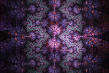 Fantasy Mechanism. Abstract Figures On Black Background. Computer-generated Fractal In Blue, Rose And Violet Colors.