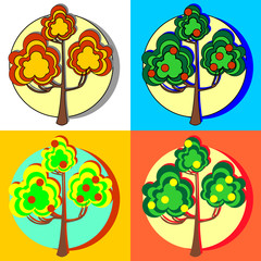 Fruit trees with fruits on a colorful background.