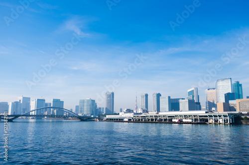 Fotografie, Obraz  Tsukiji fish market, Tokyo tower, Tsukiji ohashi(bridge name) and Sumida river