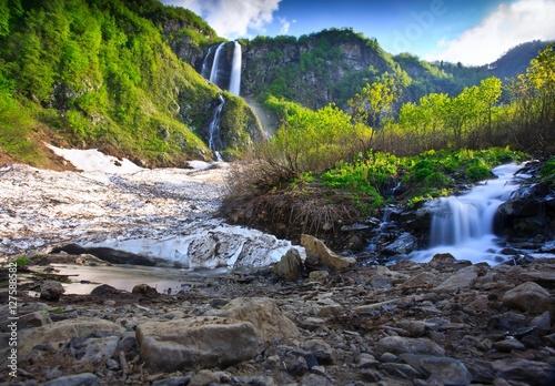 Fototapeta Long Exposure image of a Waterfall . in Caucasus mountains, Krasnodar krai, Russia