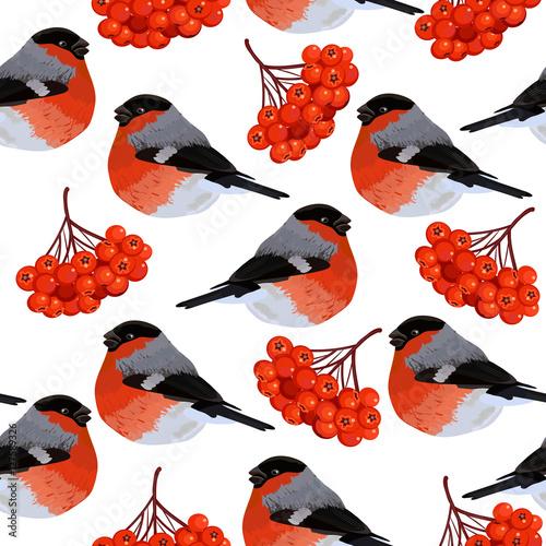 Photo Seamless pattern with rowan and bullfinches