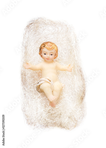 Christ Child Figurine In Angel Hair On White Background Handcrafted