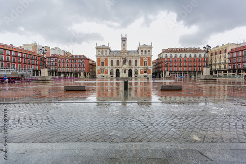 The Plaza Mayor of Valladolid, with the reflections of the rain