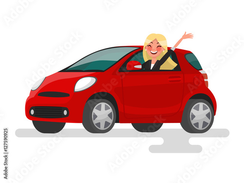 Tuinposter Cartoon cars Riding on the machine. Happy blond woman rides in the car. Vecto