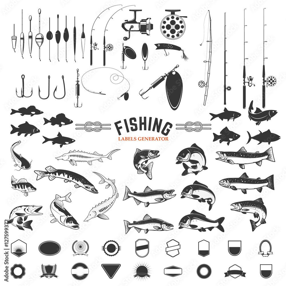 Fototapeta set of Fishing labels design elements. Rods and  fish icons. Design elements for logo, label, emblem, sign, badge. Vector illustration.