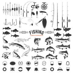 set elemenata dizajna naljepnica za ribolov. Šipke i ikone riba. Elementi dizajna za logotip, etiketu, amblem, znak, značku. Vektorska ilustracija.