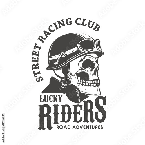 122646ff Lucky riders. Street racing club. Skull in racer helmet. Design element for  logo, label, emblem, sign, brand mark, poster, t-shirt print.