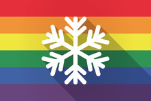 Long Shadow Lgbt Flag With A Snow Flake